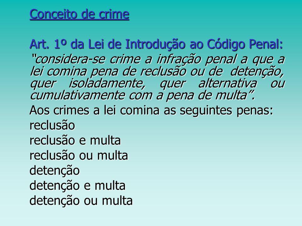 Conceito de crime Art. 1º da Lei de Introdução ao Código Penal: Art. 1º da Lei de Introdução ao Código Penal: considera-se crime a infração penal a qu