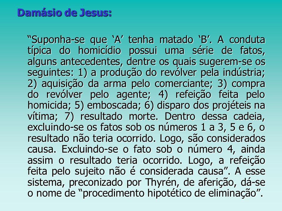 Damásio de Jesus: Suponha-se que A tenha matado B. A conduta típica do homicídio possui uma série de fatos, alguns antecedentes, dentre os quais suger
