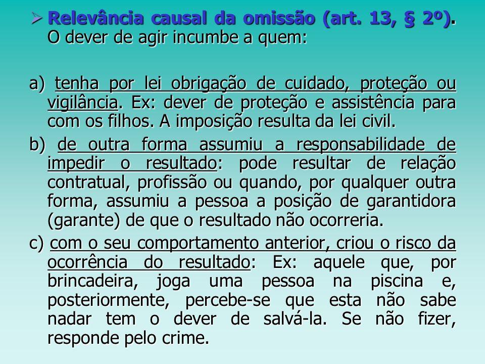 Relevância causal da omissão (art. 13, § 2º). O dever de agir incumbe a quem: Relevância causal da omissão (art. 13, § 2º). O dever de agir incumbe a