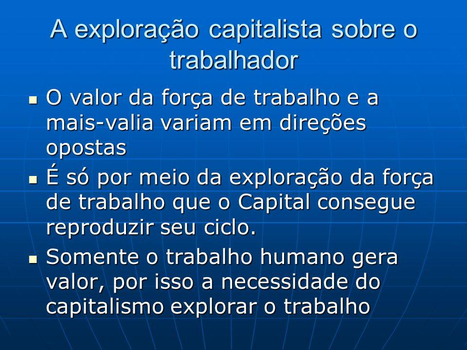A exploração capitalista sobre o trabalhador O valor da força de trabalho e a mais-valia variam em direções opostas O valor da força de trabalho e a m