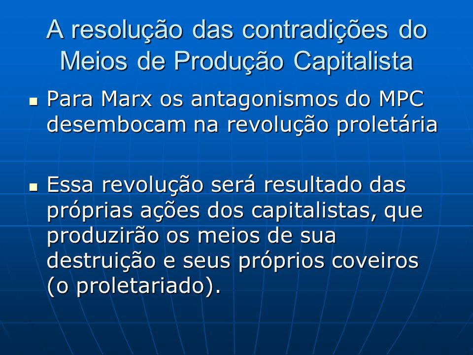 A resolução das contradições do Meios de Produção Capitalista Para Marx os antagonismos do MPC desembocam na revolução proletária Para Marx os antagon