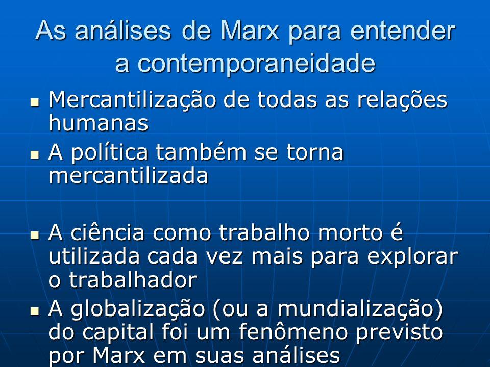 As análises de Marx para entender a contemporaneidade Mercantilização de todas as relações humanas Mercantilização de todas as relações humanas A polí
