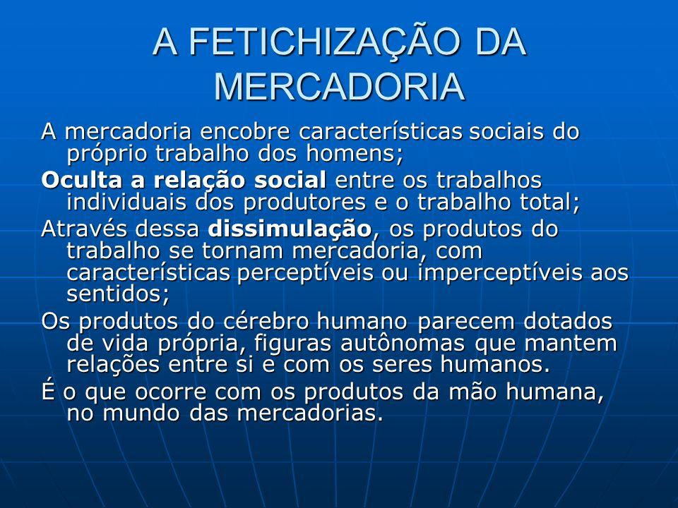 A FETICHIZAÇÃO DA MERCADORIA A mercadoria encobre características sociais do próprio trabalho dos homens; Oculta a relação social entre os trabalhos i
