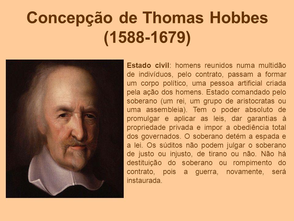 Concepção de Thomas Hobbes (1588-1679) Estado civil: homens reunidos numa multidão de indivíduos, pelo contrato, passam a formar um corpo político, um