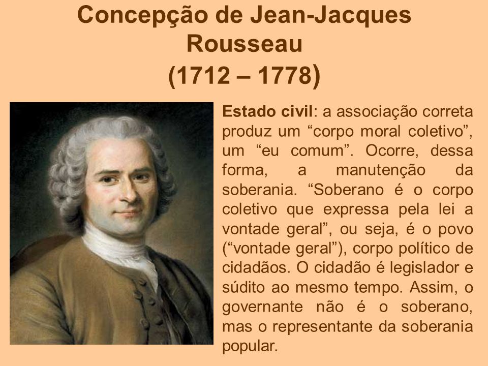 Concepção de Jean-Jacques Rousseau (1712 – 1778 ) Estado civil: a associação correta produz um corpo moral coletivo, um eu comum. Ocorre, dessa forma,