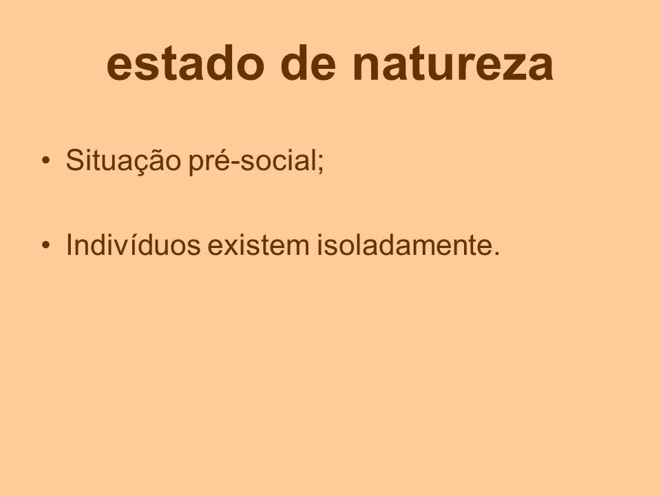 estado de natureza Situação pré-social; Indivíduos existem isoladamente.