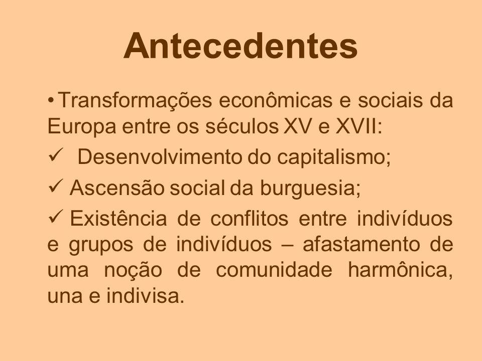 Antecedentes Transformações econômicas e sociais da Europa entre os séculos XV e XVII: Desenvolvimento do capitalismo; Ascensão social da burguesia; E