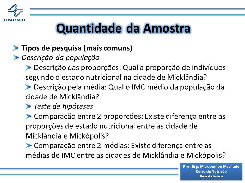 Prof. Esp. Mick Lennon Machado Curso de Nutrição Bioestatística Prof. Esp. Mick Lennon Machado Curso de Nutrição Bioestatística Tipos de pesquisa (mai