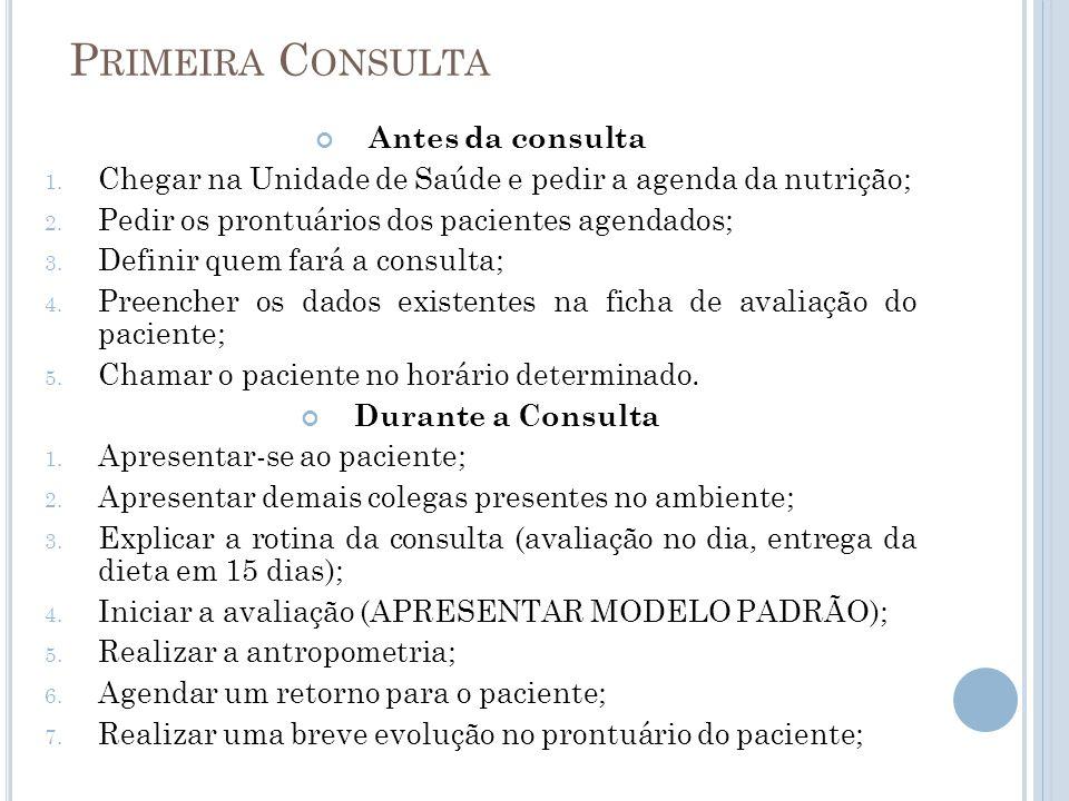 P RIMEIRA C ONSULTA Antes da consulta 1. Chegar na Unidade de Saúde e pedir a agenda da nutrição; 2. Pedir os prontuários dos pacientes agendados; 3.