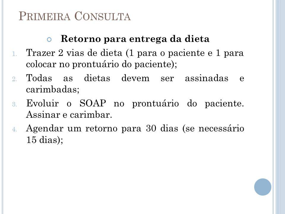 P RIMEIRA C ONSULTA Retorno para entrega da dieta 1. Trazer 2 vias de dieta (1 para o paciente e 1 para colocar no prontuário do paciente); 2. Todas a