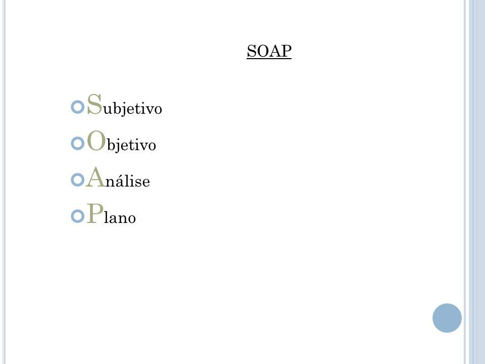SOAP S ubjetivo O bjetivo A nálise P lano