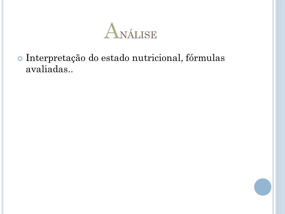 A NÁLISE Interpretação do estado nutricional, fórmulas avaliadas..
