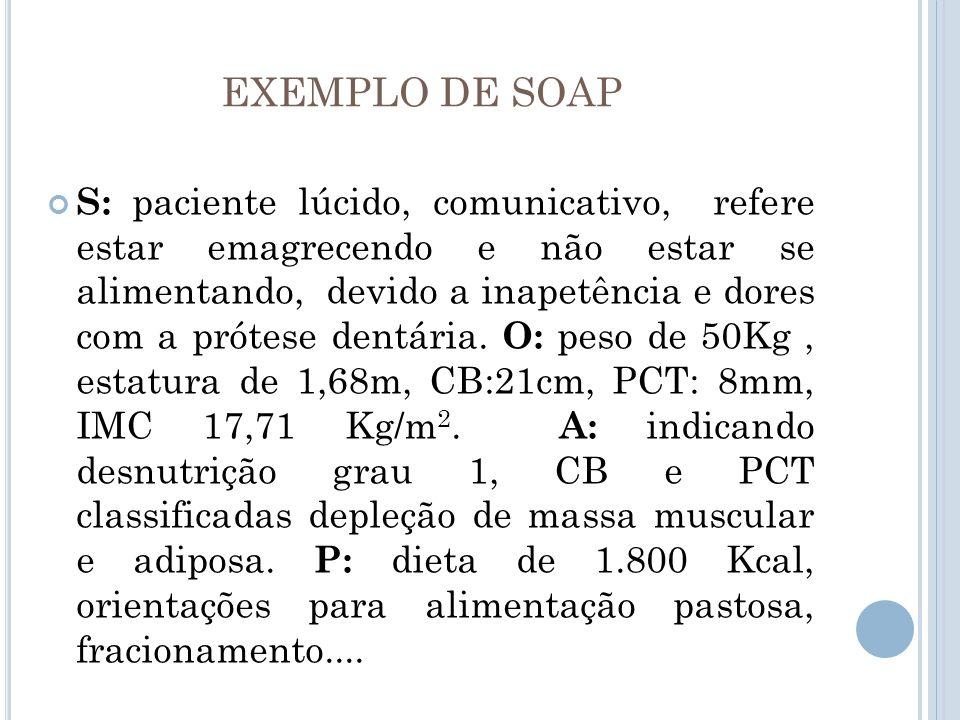 EXEMPLO DE SOAP S: paciente lúcido, comunicativo, refere estar emagrecendo e não estar se alimentando, devido a inapetência e dores com a prótese dent