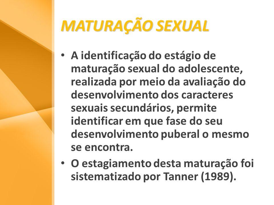MATURAÇÃO SEXUAL A identificação do estágio de maturação sexual do adolescente, realizada por meio da avaliação do desenvolvimento dos caracteres sexu
