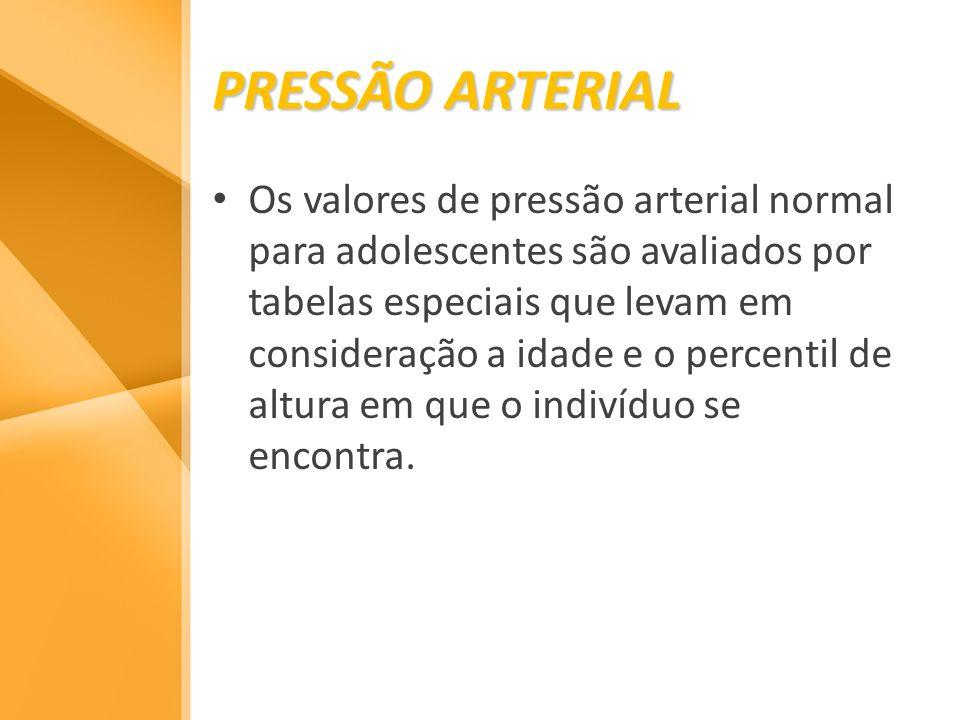 PRESSÃO ARTERIAL Os valores de pressão arterial normal para adolescentes são avaliados por tabelas especiais que levam em consideração a idade e o per