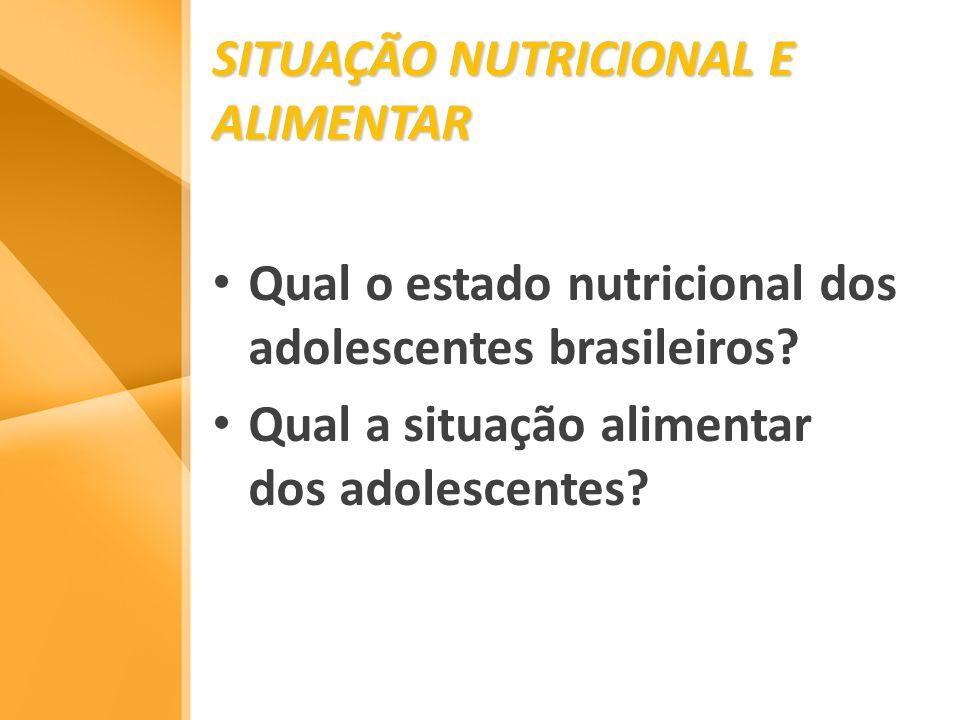 SITUAÇÃO NUTRICIONAL E ALIMENTAR Qual o estado nutricional dos adolescentes brasileiros? Qual a situação alimentar dos adolescentes?