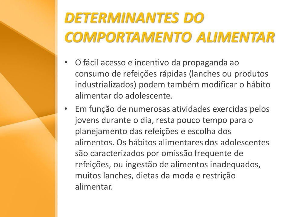 DETERMINANTES DO COMPORTAMENTO ALIMENTAR O fácil acesso e incentivo da propaganda ao consumo de refeições rápidas (lanches ou produtos industrializado