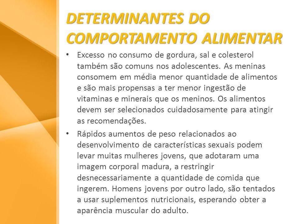 DETERMINANTES DO COMPORTAMENTO ALIMENTAR Excesso no consumo de gordura, sal e colesterol também são comuns nos adolescentes. As meninas consomem em mé