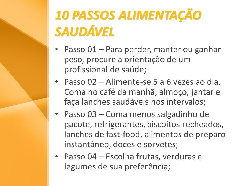 10 PASSOS ALIMENTAÇÃO SAUDÁVEL Passo 01 – Para perder, manter ou ganhar peso, procure a orientação de um profissional de saúde; Passo 02 – Alimente-se