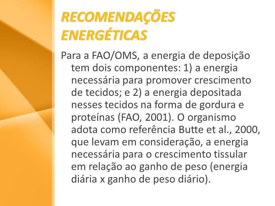 RECOMENDAÇÕES ENERGÉTICAS Para a FAO/OMS, a energia de deposição tem dois componentes: 1) a energia necessária para promover crescimento de tecidos; e