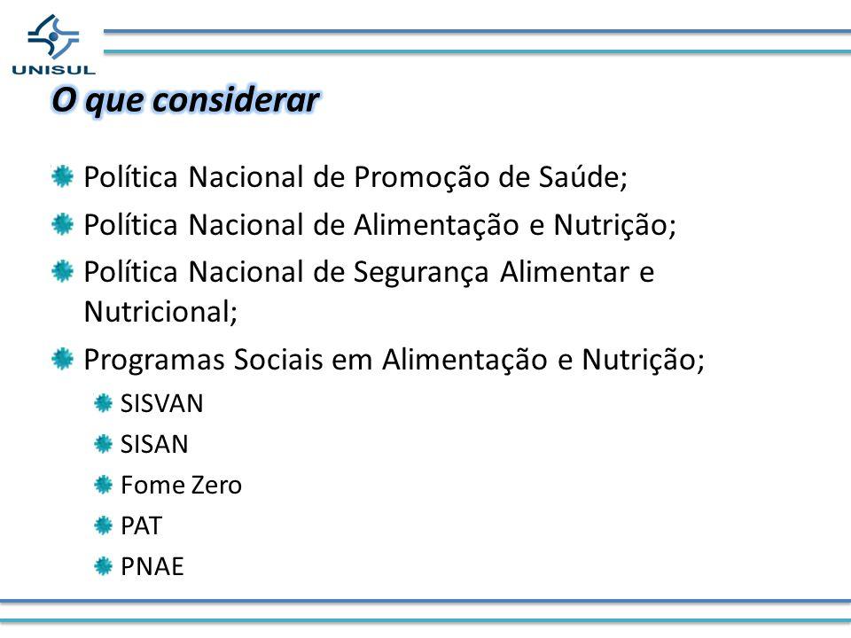 Política Nacional de Promoção de Saúde; Política Nacional de Alimentação e Nutrição; Política Nacional de Segurança Alimentar e Nutricional; Programas