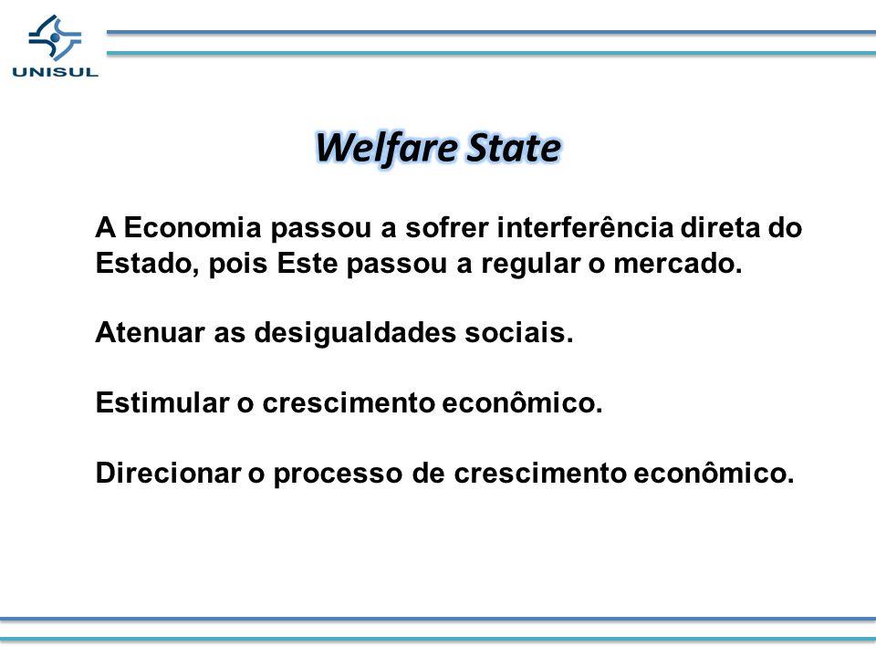 A Economia passou a sofrer interferência direta do Estado, pois Este passou a regular o mercado. Atenuar as desigualdades sociais. Estimular o crescim