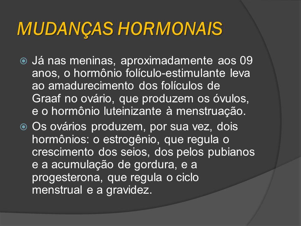 MUDANÇAS HORMONAIS Já nas meninas, aproximadamente aos 09 anos, o hormônio folículo-estimulante leva ao amadurecimento dos folículos de Graaf no ovári