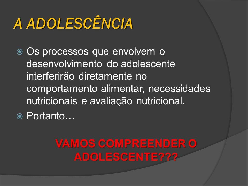 A ADOLESCÊNCIA Os processos que envolvem o desenvolvimento do adolescente interferirão diretamente no comportamento alimentar, necessidades nutriciona