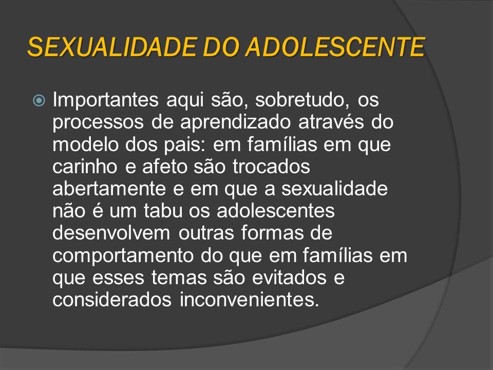 SEXUALIDADE DO ADOLESCENTE Importantes aqui são, sobretudo, os processos de aprendizado através do modelo dos pais: em famílias em que carinho e afeto