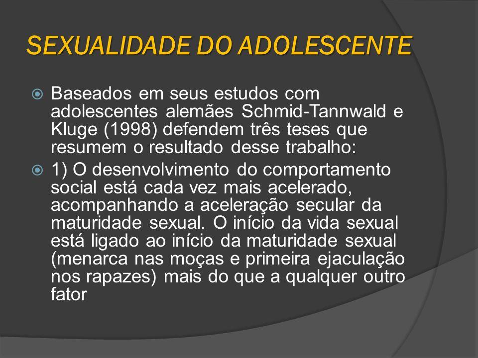 SEXUALIDADE DO ADOLESCENTE Baseados em seus estudos com adolescentes alemães Schmid-Tannwald e Kluge (1998) defendem três teses que resumem o resultad