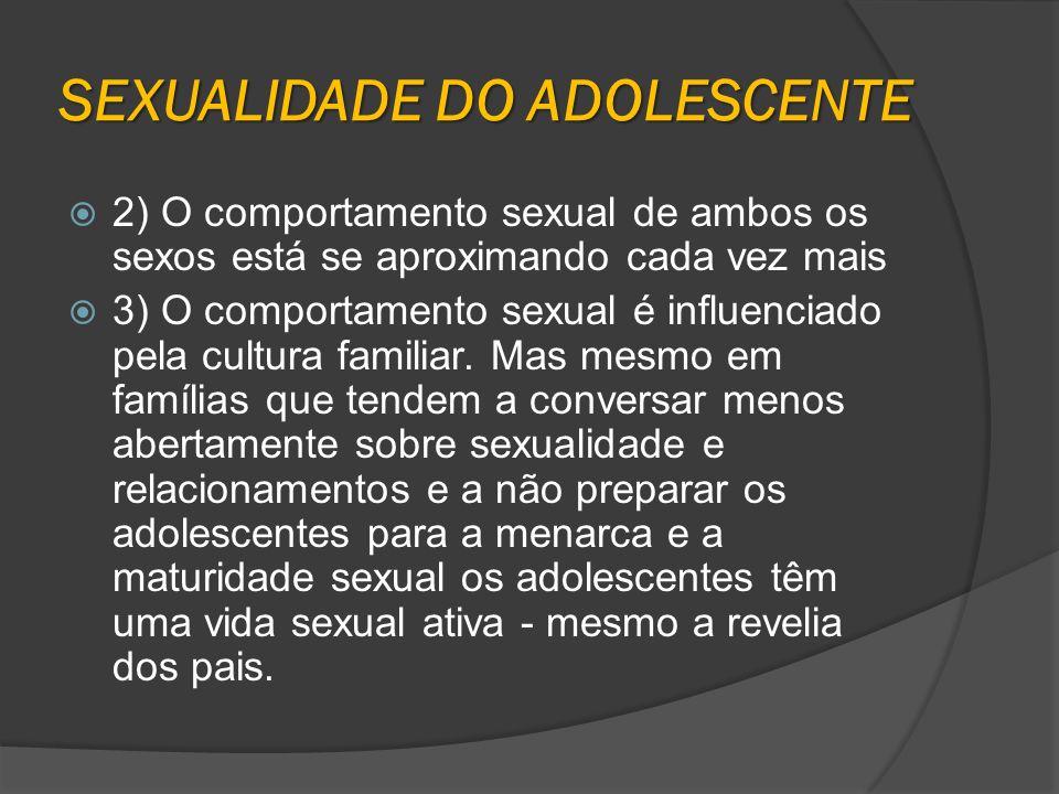 SEXUALIDADE DO ADOLESCENTE 2) O comportamento sexual de ambos os sexos está se aproximando cada vez mais 3) O comportamento sexual é influenciado pela