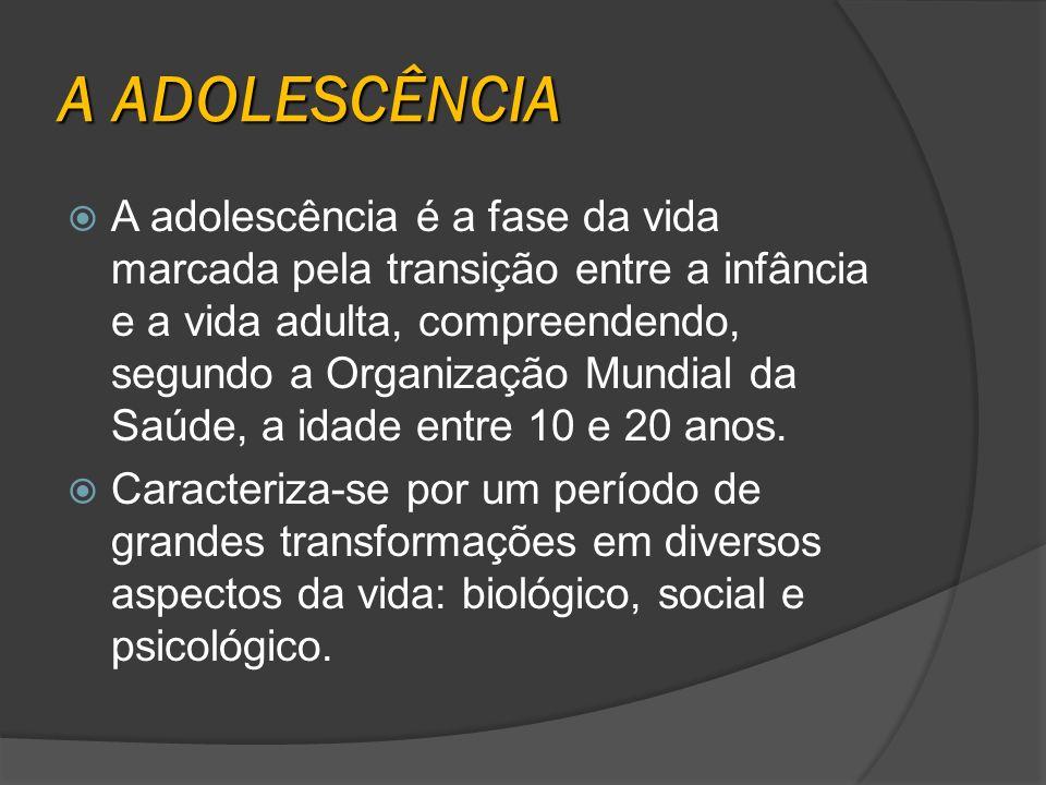 A adolescência é a fase da vida marcada pela transição entre a infância e a vida adulta, compreendendo, segundo a Organização Mundial da Saúde, a idad