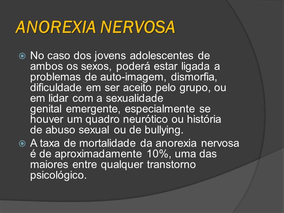 ANOREXIA NERVOSA No caso dos jovens adolescentes de ambos os sexos, poderá estar ligada a problemas de auto-imagem, dismorfia, dificuldade em ser acei
