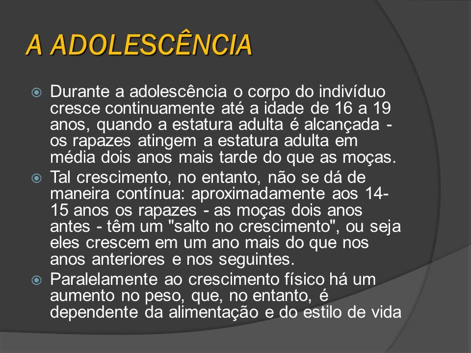A ADOLESCÊNCIA Durante a adolescência o corpo do indivíduo cresce continuamente até a idade de 16 a 19 anos, quando a estatura adulta é alcançada - os