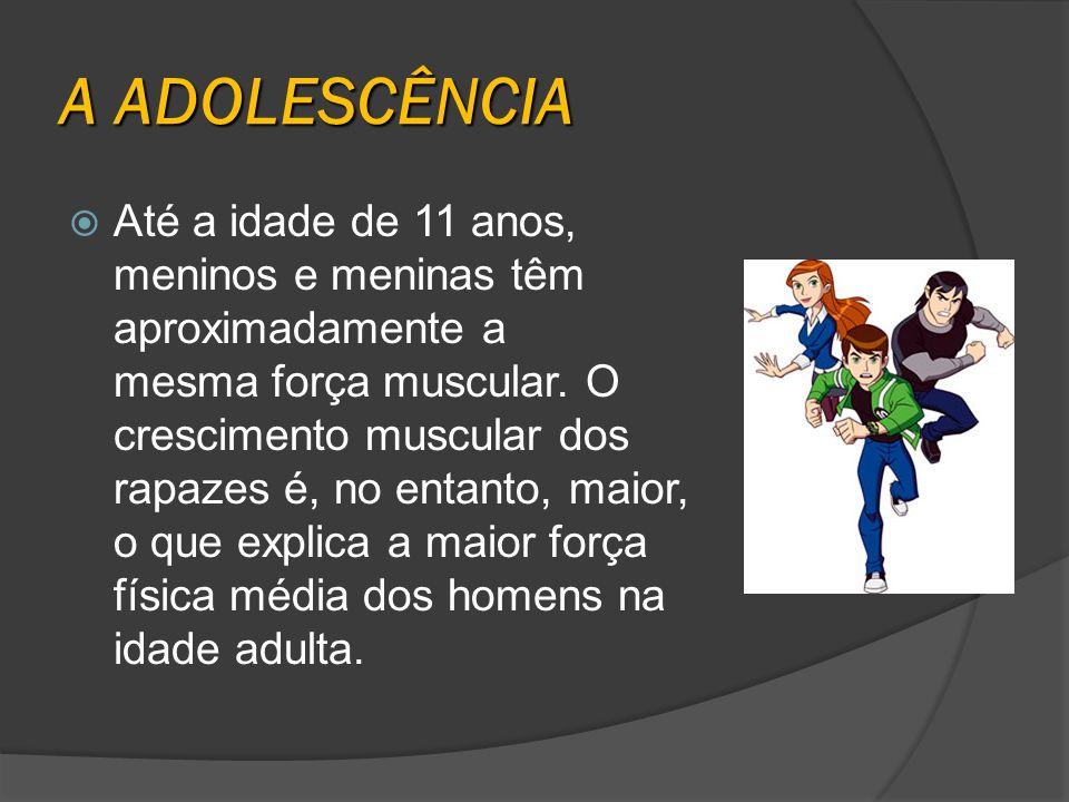 A ADOLESCÊNCIA Até a idade de 11 anos, meninos e meninas têm aproximadamente a mesma força muscular. O crescimento muscular dos rapazes é, no entanto,