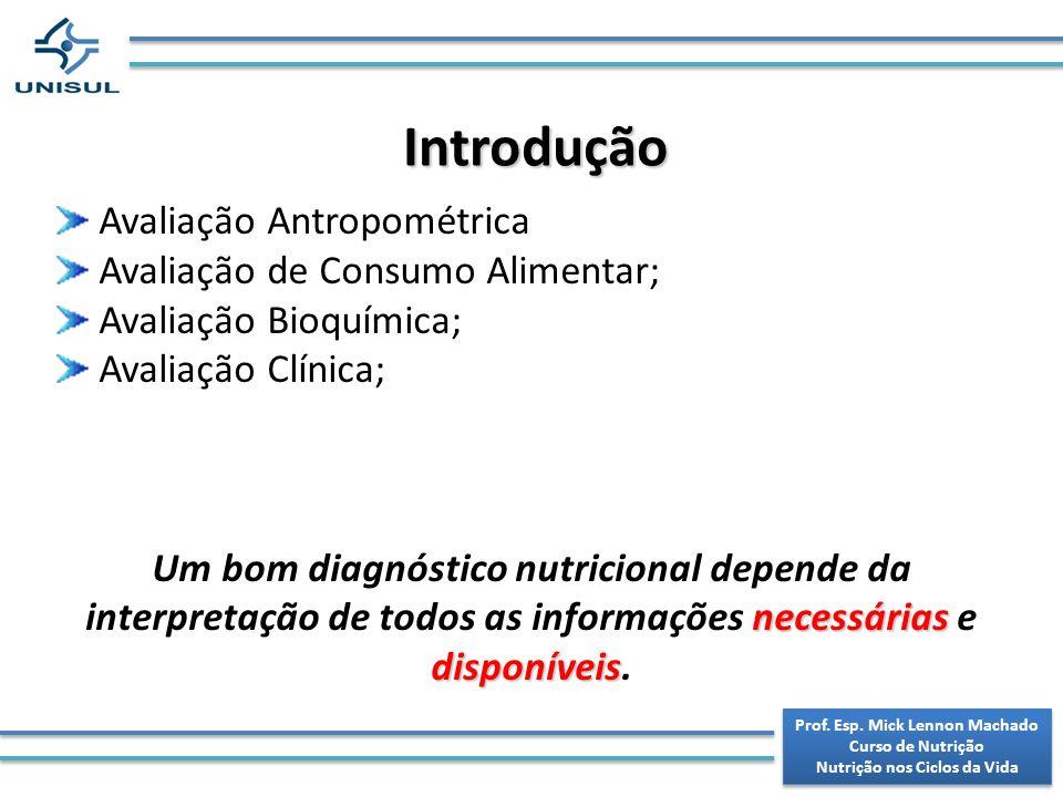 Prof.Esp. Mick Lennon Machado Curso de Nutrição Nutrição nos Ciclos da Vida Prof.