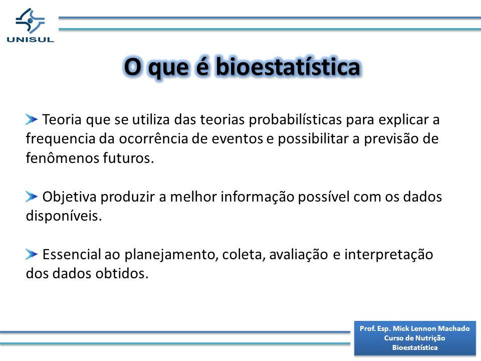 Prof. Esp. Mick Lennon Machado Curso de Nutrição Bioestatística Prof. Esp. Mick Lennon Machado Curso de Nutrição Bioestatística Teoria que se utiliza