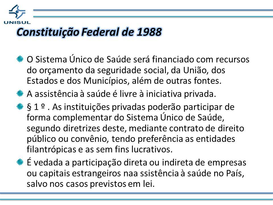O Sistema Único de Saúde será financiado com recursos do orçamento da seguridade social, da União, dos Estados e dos Municípios, além de outras fontes