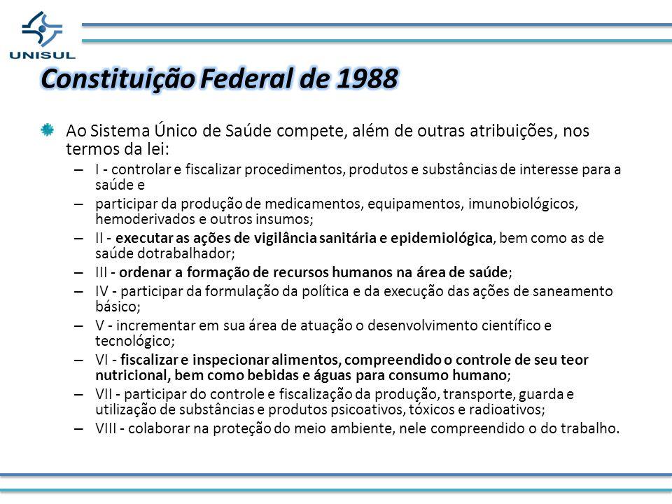 Ao Sistema Único de Saúde compete, além de outras atribuições, nos termos da lei: – I - controlar e fiscalizar procedimentos, produtos e substâncias d