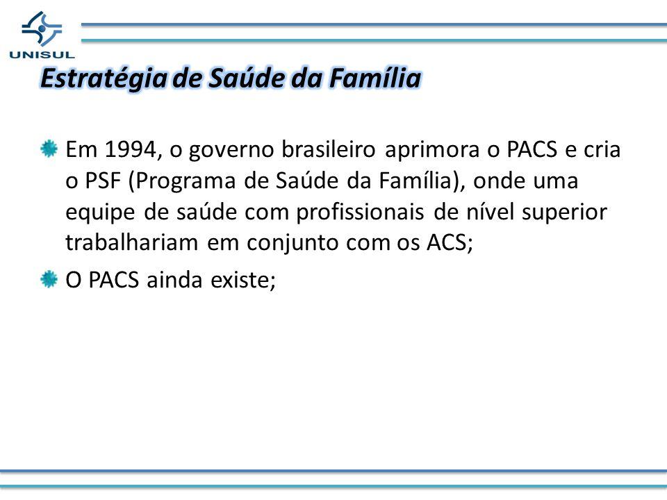 Em 1994, o governo brasileiro aprimora o PACS e cria o PSF (Programa de Saúde da Família), onde uma equipe de saúde com profissionais de nível superio
