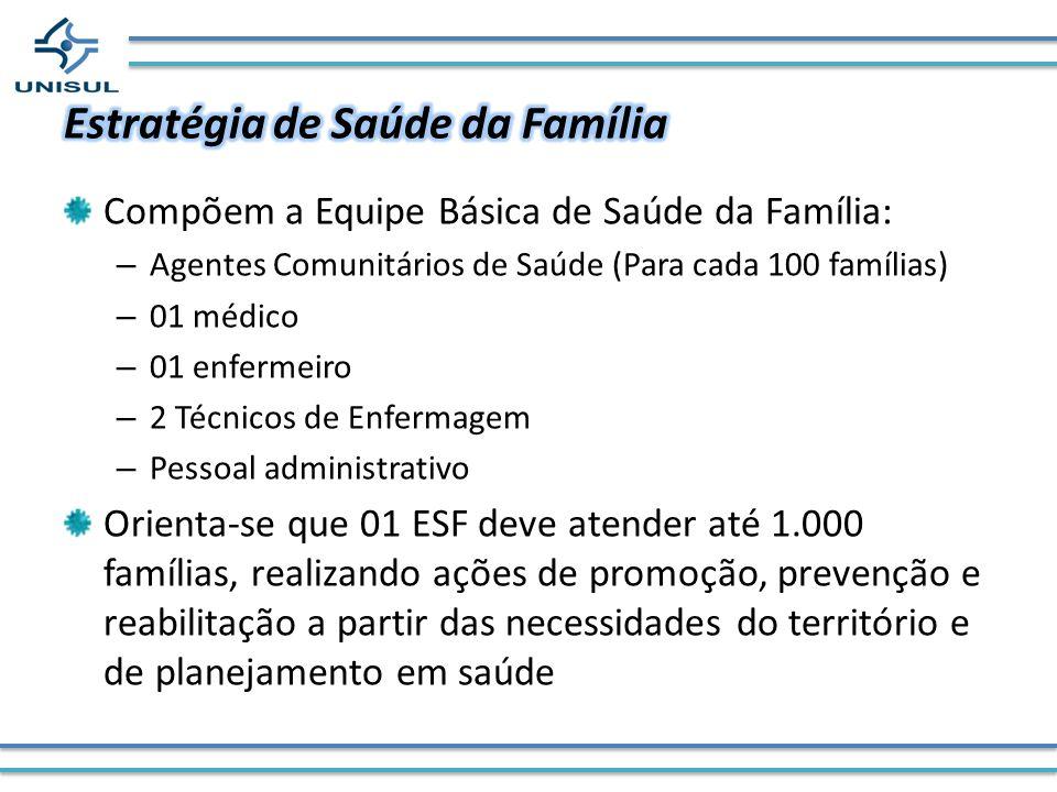 Compõem a Equipe Básica de Saúde da Família: – Agentes Comunitários de Saúde (Para cada 100 famílias) – 01 médico – 01 enfermeiro – 2 Técnicos de Enfe