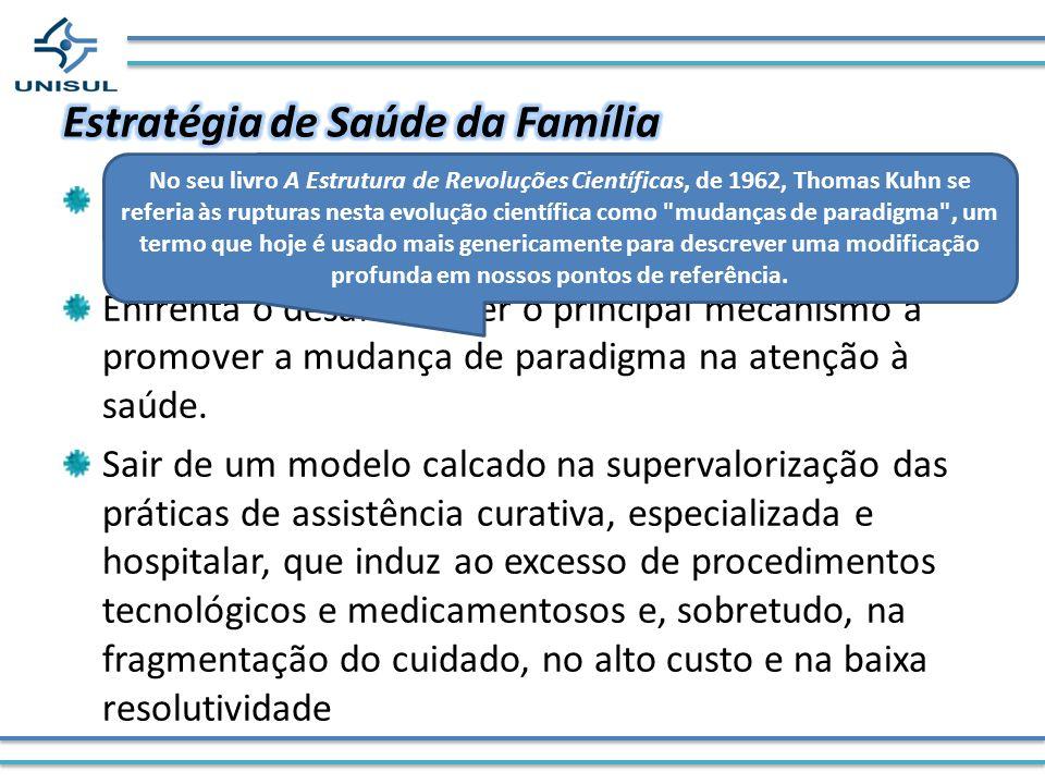 Principal estratégia de reorganização do Sistema de Saúde e das práticas profissionais Enfrenta o desafio de ser o principal mecanismo a promover a mu
