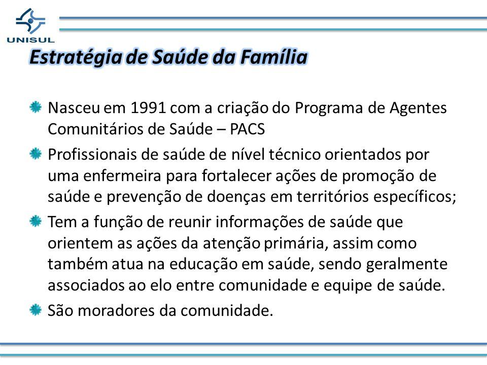 Nasceu em 1991 com a criação do Programa de Agentes Comunitários de Saúde – PACS Profissionais de saúde de nível técnico orientados por uma enfermeira