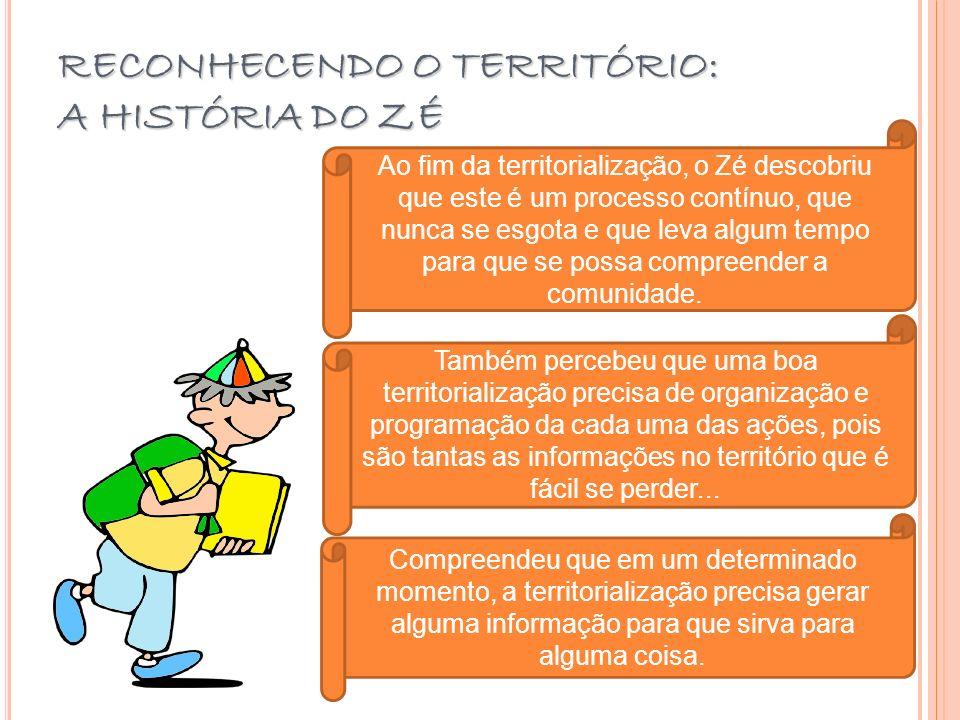 RECONHECENDO O TERRITÓRIO: A HISTÓRIA DO ZÉ Ao fim da territorialização, o Zé descobriu que este é um processo contínuo, que nunca se esgota e que lev