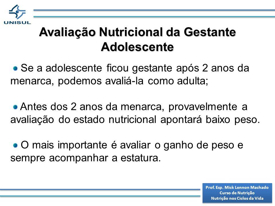 Avaliação Nutricional da Gestante Adolescente Se a adolescente ficou gestante após 2 anos da menarca, podemos avaliá-la como adulta; Antes dos 2 anos