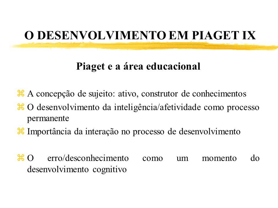 O DESENVOLVIMENTO EM PIAGET IX Piaget e a área educacional zA concepção de sujeito: ativo, construtor de conhecimentos zO desenvolvimento da inteligên