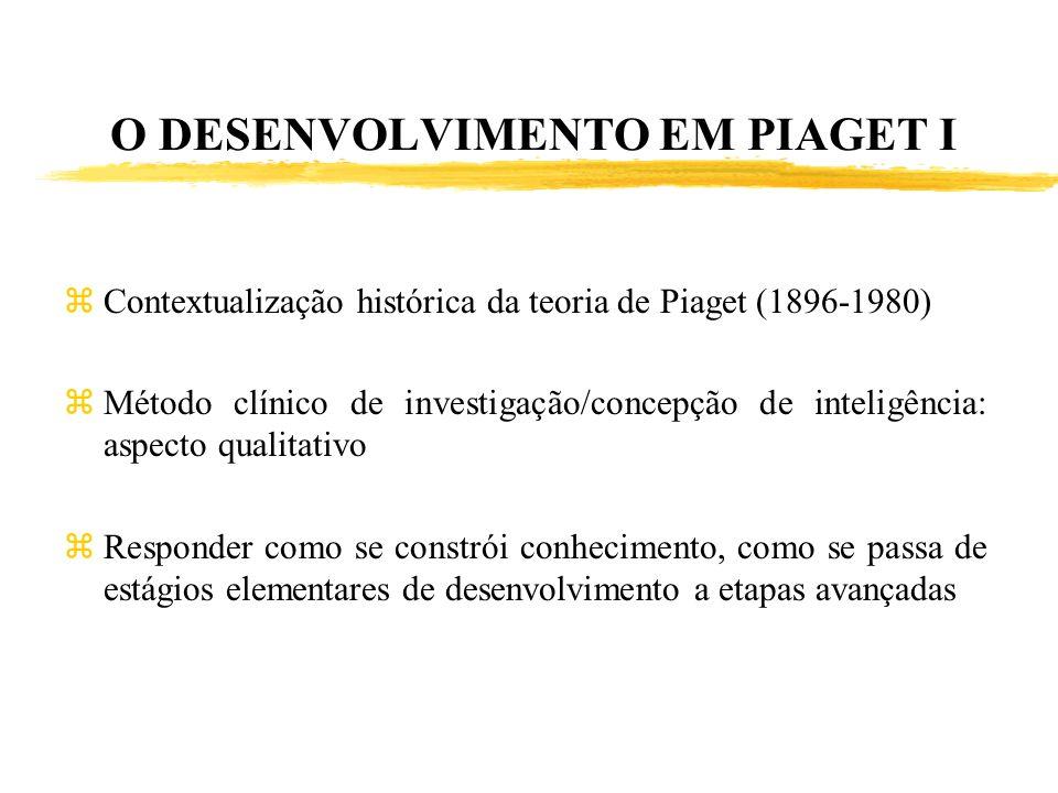 O DESENVOLVIMENTO EM PIAGET I zContextualização histórica da teoria de Piaget (1896-1980) zMétodo clínico de investigação/concepção de inteligência: a