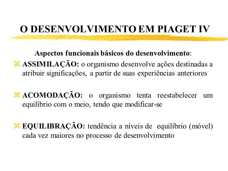 O DESENVOLVIMENTO EM PIAGET IV Aspectos funcionais básicos do desenvolvimento: zASSIMILAÇÃO: o organismo desenvolve ações destinadas a atribuir signif