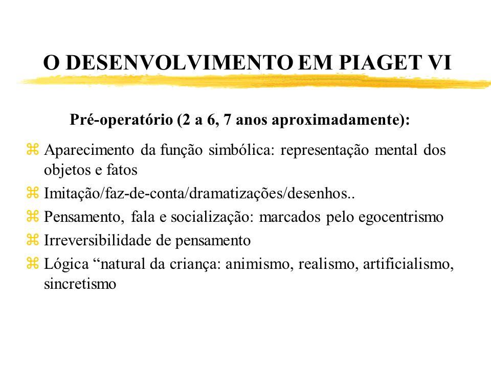 O DESENVOLVIMENTO EM PIAGET VI Pré-operatório (2 a 6, 7 anos aproximadamente): zAparecimento da função simbólica: representação mental dos objetos e f