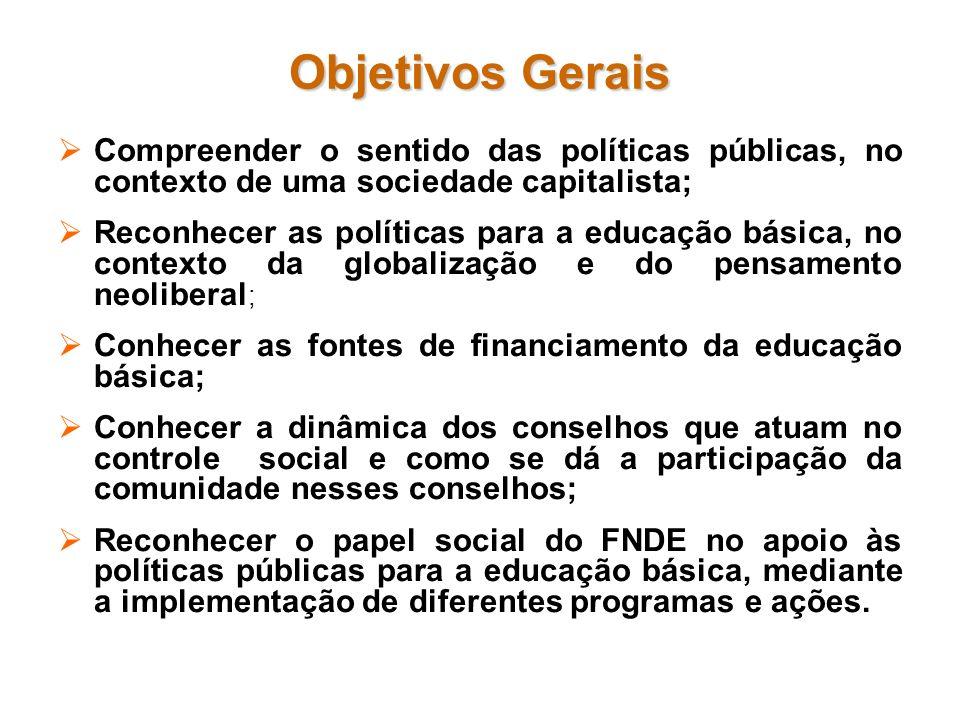 Objetivos Gerais Compreender o sentido das políticas públicas, no contexto de uma sociedade capitalista; Reconhecer as políticas para a educação básic
